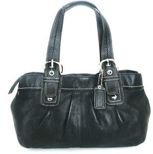 Coach Black Leather Large Tote Shoulder Bag